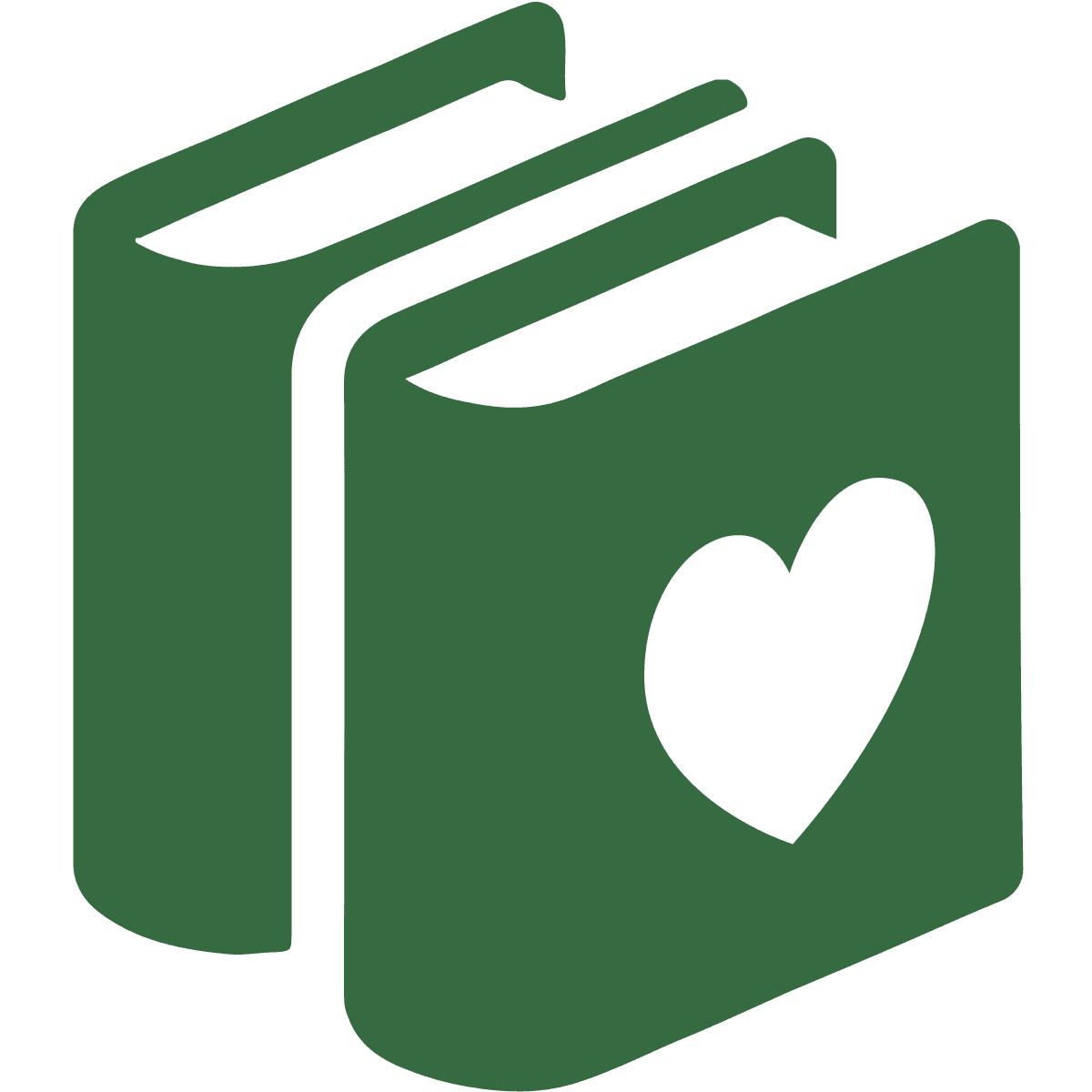 Two green books with a heart cut out of the center icon