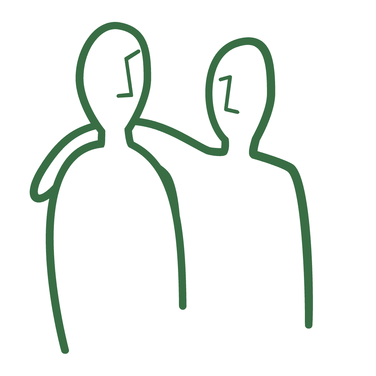 Two green stick people icons