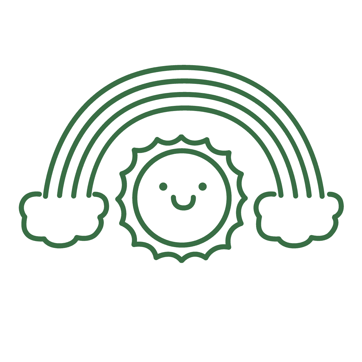 Green rainbow with smiley face inside icon