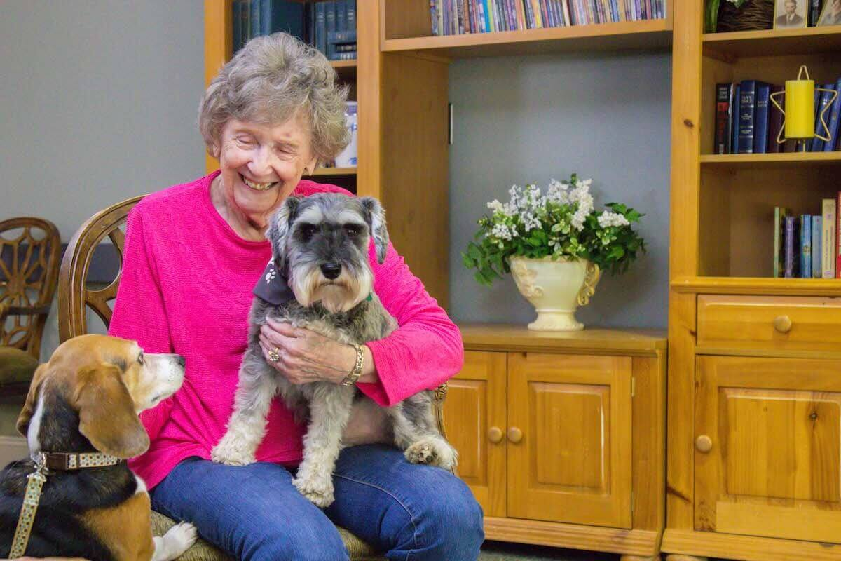 A senior resident doing therapy with pets