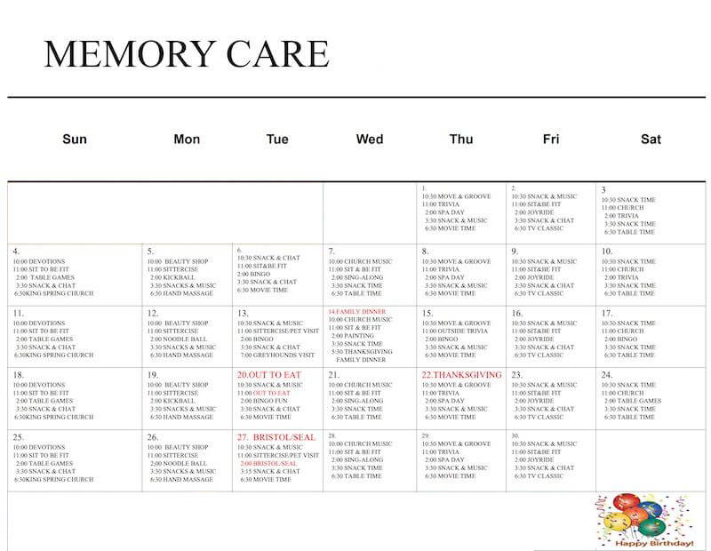 Woodland Ridge Memory Care Monthly Calendar