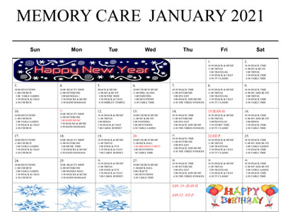 Woodland Ridge Assisted Living Monthly Calendar